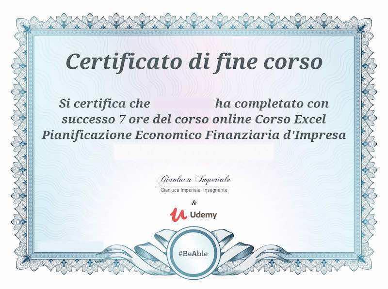 Certificato Corso Excel